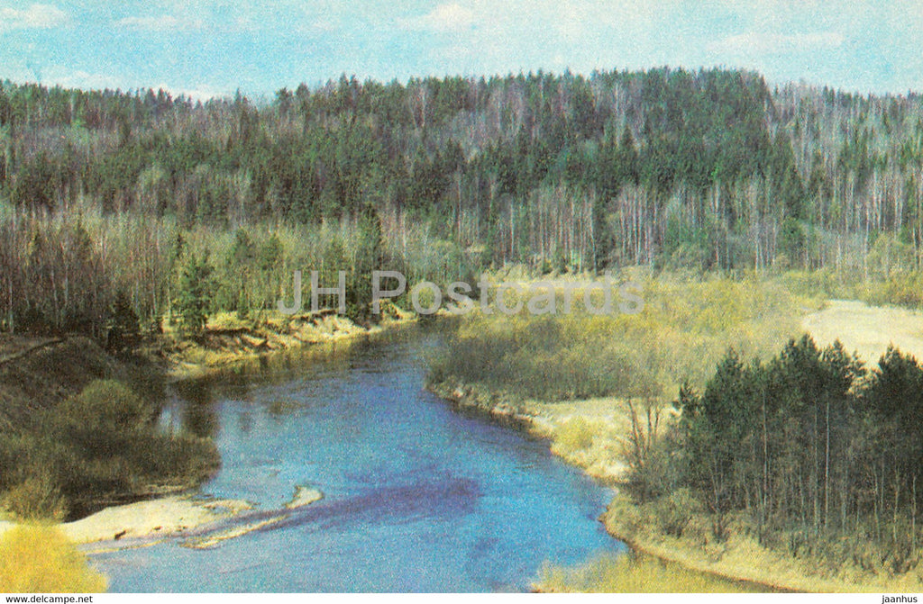 The Gauja National Park - The Gauja river near Ligatne - 1976 - Latvia USSR - unused - JH Postcards