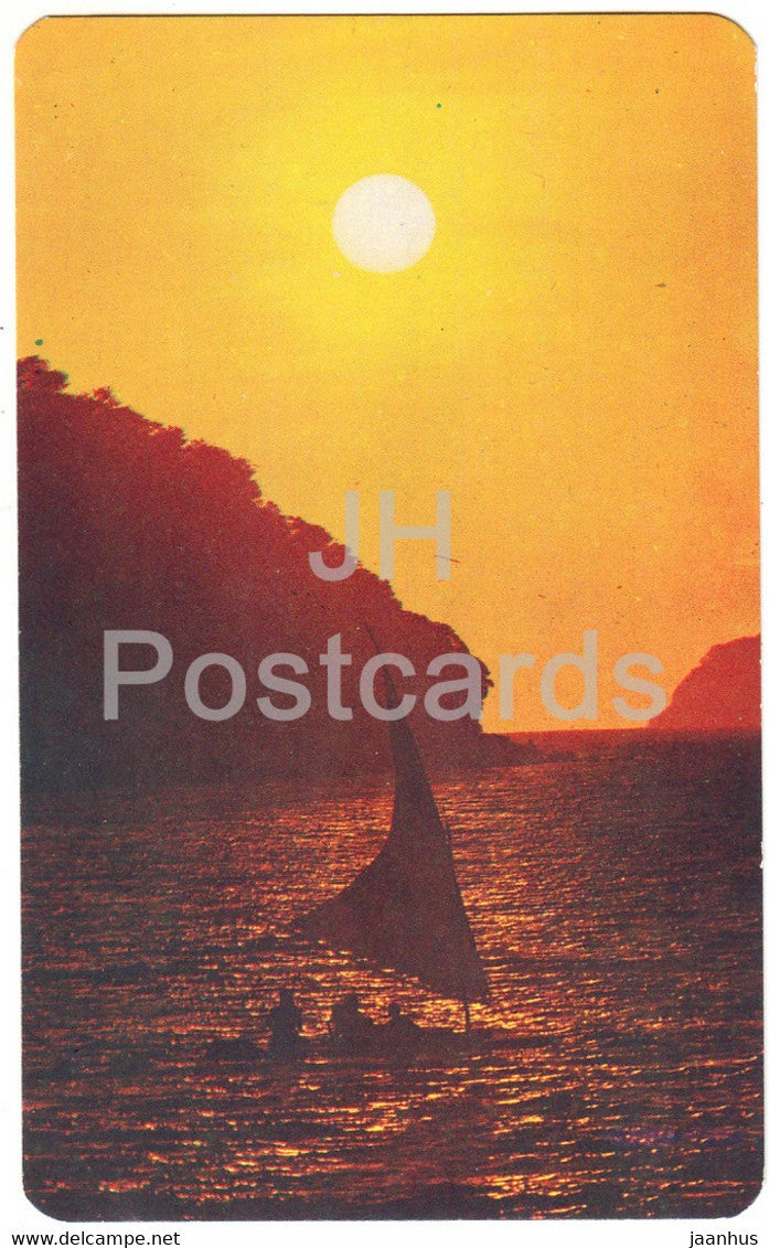 Atardecer en Puerto Marques - Sunset in Puerto Marques - Acapulco - sailing boat - Mexico - unused - JH Postcards