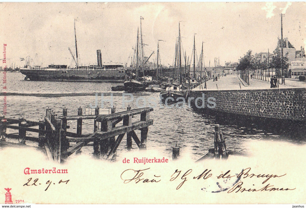 Amsterdam - de Ruijterkade - ship - old postcard - 1901 - Netherlands - used - JH Postcards