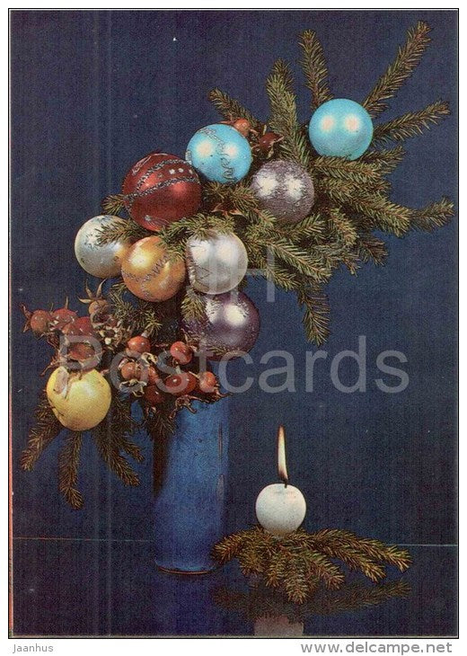 New Year Greeting card - 1 - candle - decorations - 1982 - Estonia USSR - unused - JH Postcards