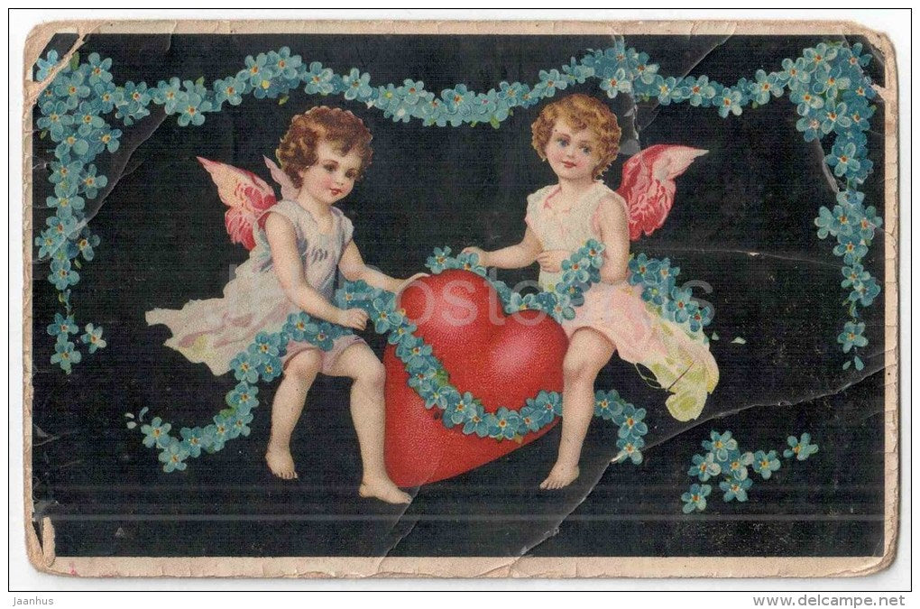 Greeting Card - angels - heart - flowers - old postcard - circulated in Estonia - JH Postcards