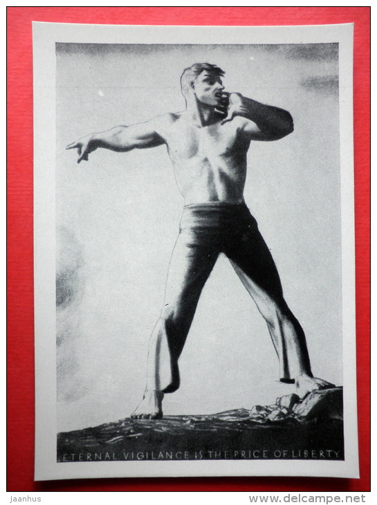 litography by Rockwell Kent - Eternal Vigilance is the Price of Liberty - man - art of USA - unused - JH Postcards