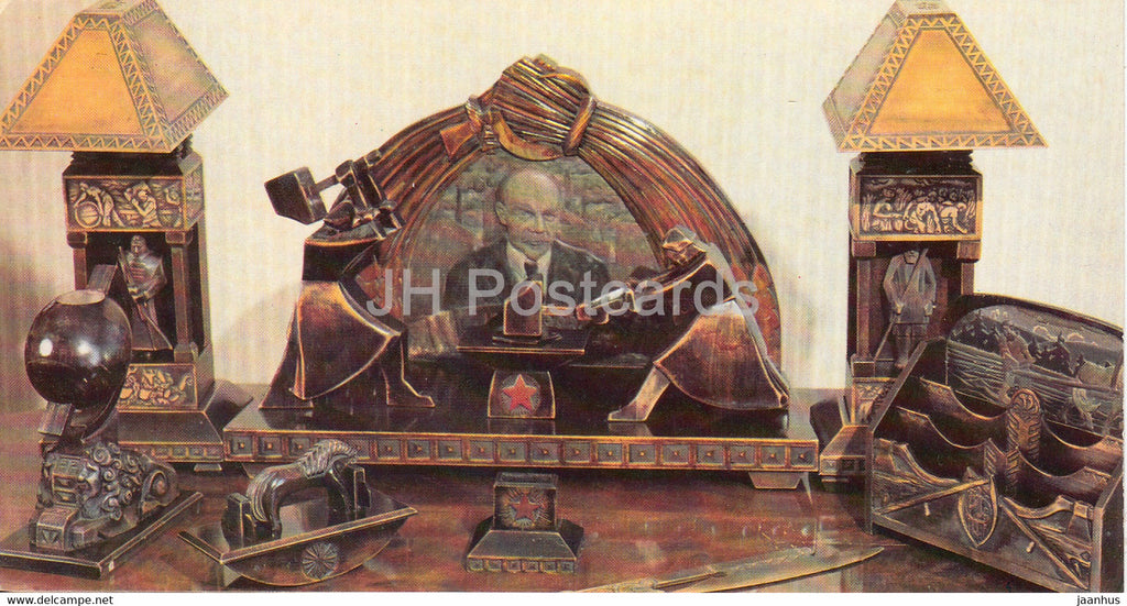 A Desk set presented to Lenin by handicrafts - Lenin's House Museum - Gorki Leninskiye - 1981 - Russia USSR - unused - JH Postcards