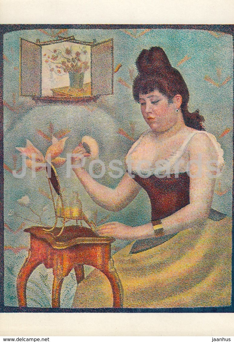 painting by Georges Seurat - Jeune Femme Se Poudrant - Young Woman Powdering Herself - French art - England - unused - JH Postcards
