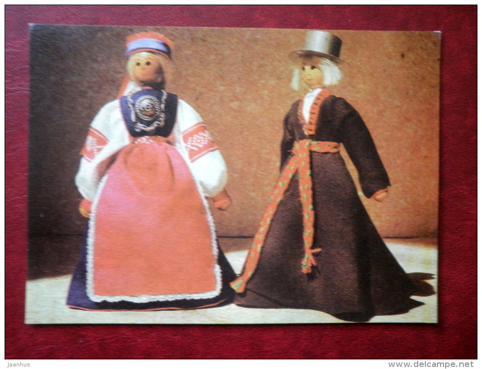People in Folk Costumes - Setu and Pärnu-Jaagupi - dolls by R. Leht - Juvenile Artists - 1970 - Estonia USSR - unused - JH Postcards
