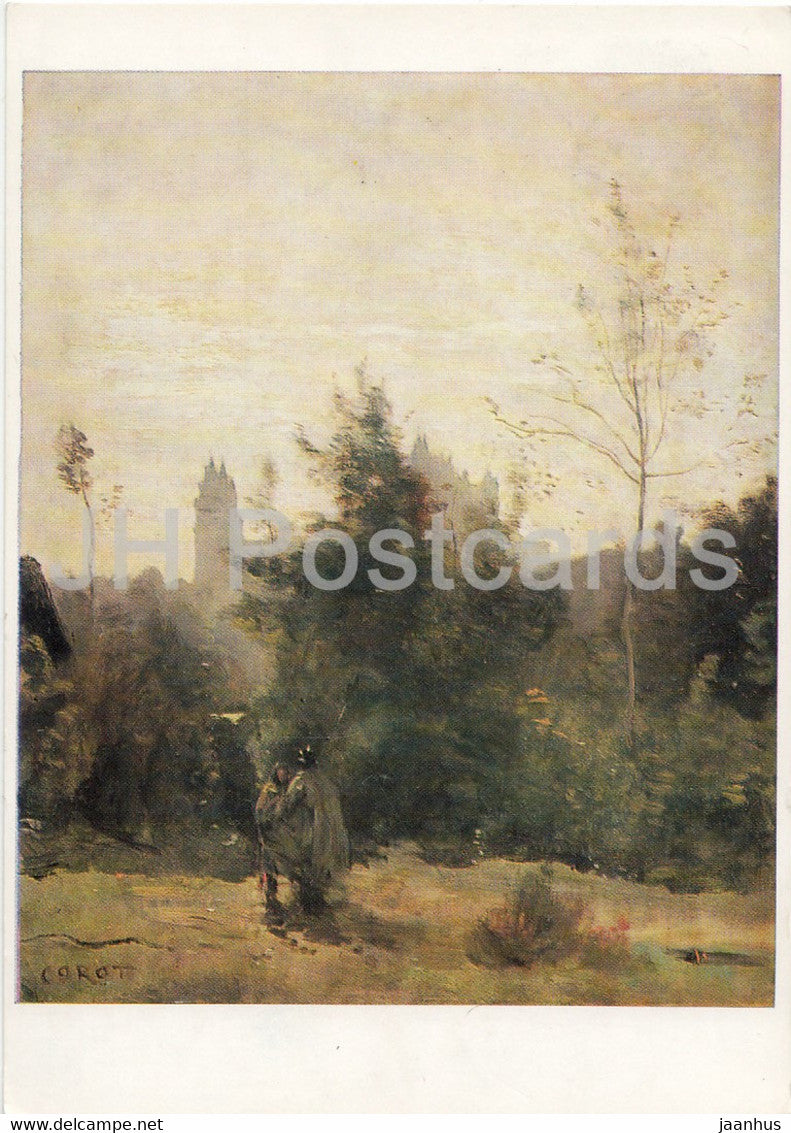painting by Jean Baptiste Camille Corot - Schloss Pierrefonds - French art - Germany DDR - used - JH Postcards