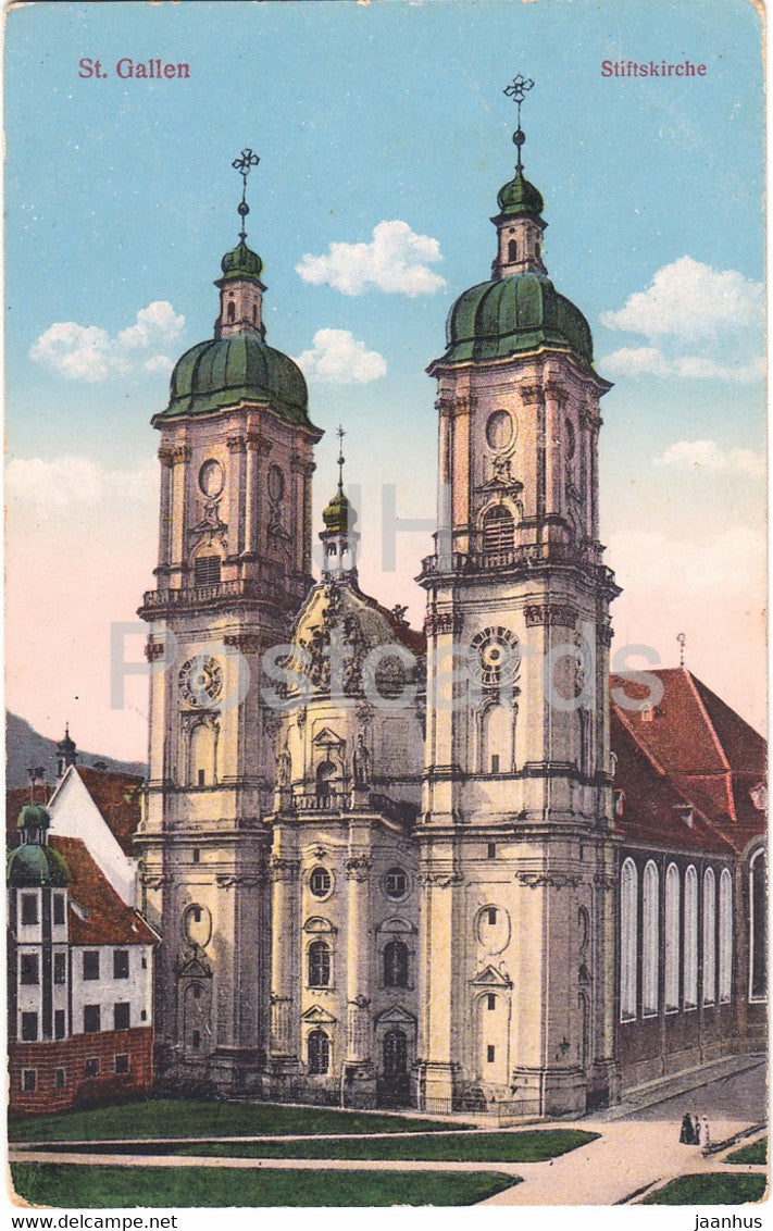 St Gallen - Stiftskirche - 5532 - old postcard - 1914 - Switzerland - used - JH Postcards
