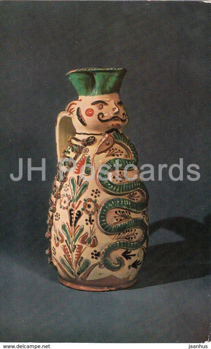 Wine Jug - Hungary - clay - Folk Art - 1973 - Russia USSR - unused - JH Postcards