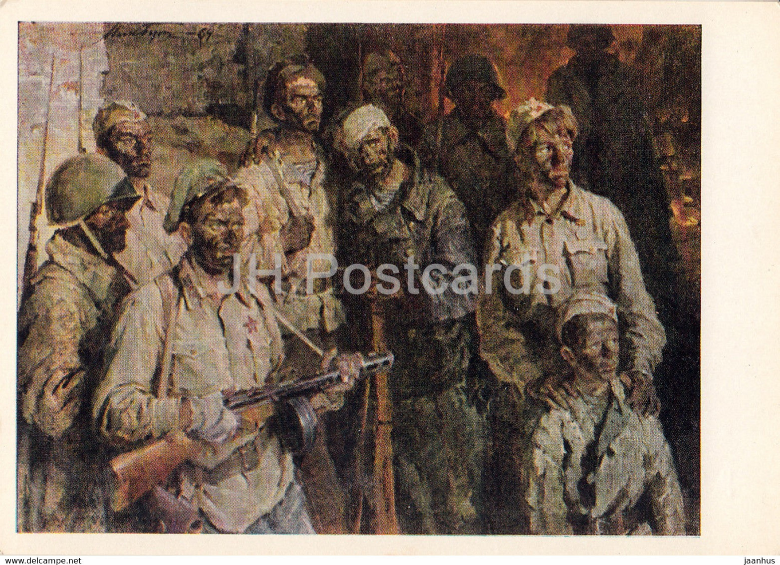 Guarding the World - painting by N. But - Underground garrison soldiers - military - art - 1965 - Russia USSR - unused - JH Postcards