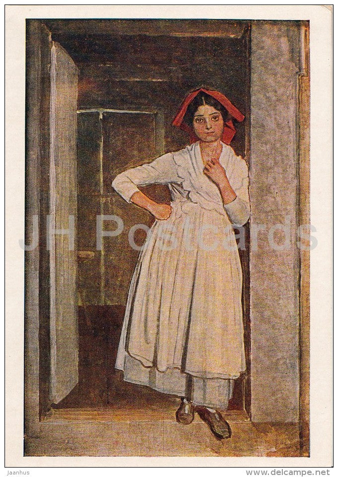 painting by A. Ivanov -  Albanian Girl at the Door - Russian art - 1956 - Russia USSR - unused - JH Postcards
