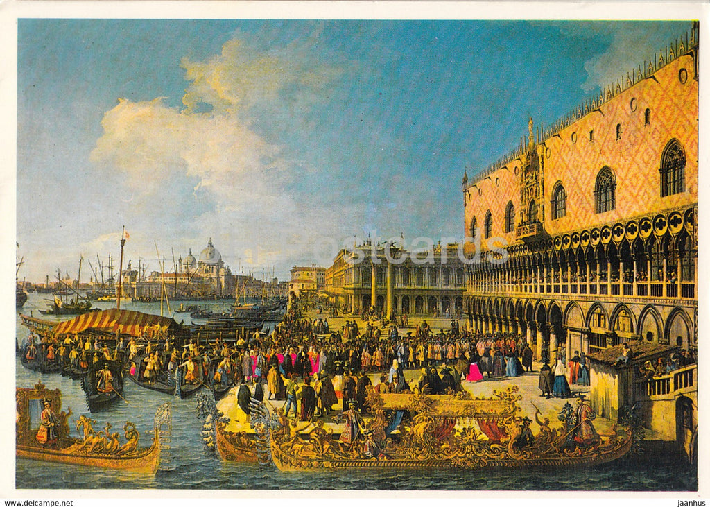 painting by Canaletto - The Bucintoro returning to the Quai - Venice - Venezia - Italian art - Italy - unused - JH Postcards