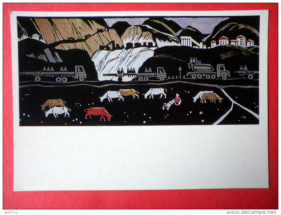 painting by D. Nodiya - On the Roads of Ingurges , 1967 - cows - truck - azerbaijan art - unused - JH Postcards