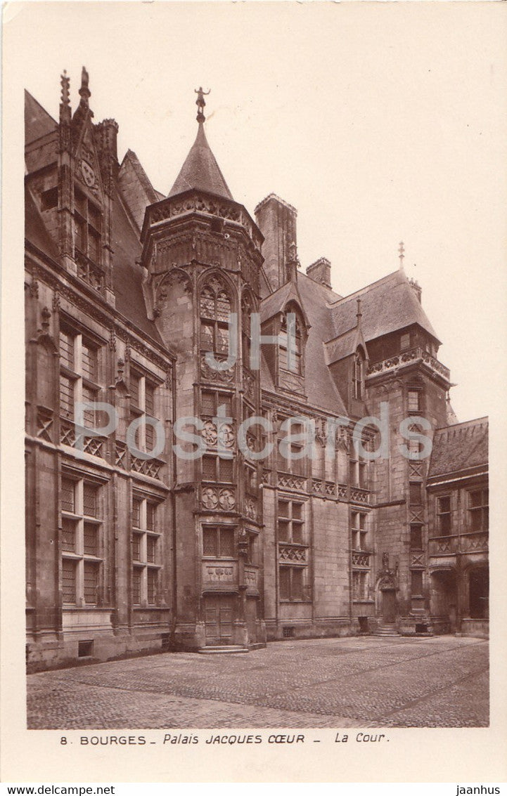 Bourges - Palais Jacques Coeur - La Cour - 8 - old postcard - France - unused - JH Postcards