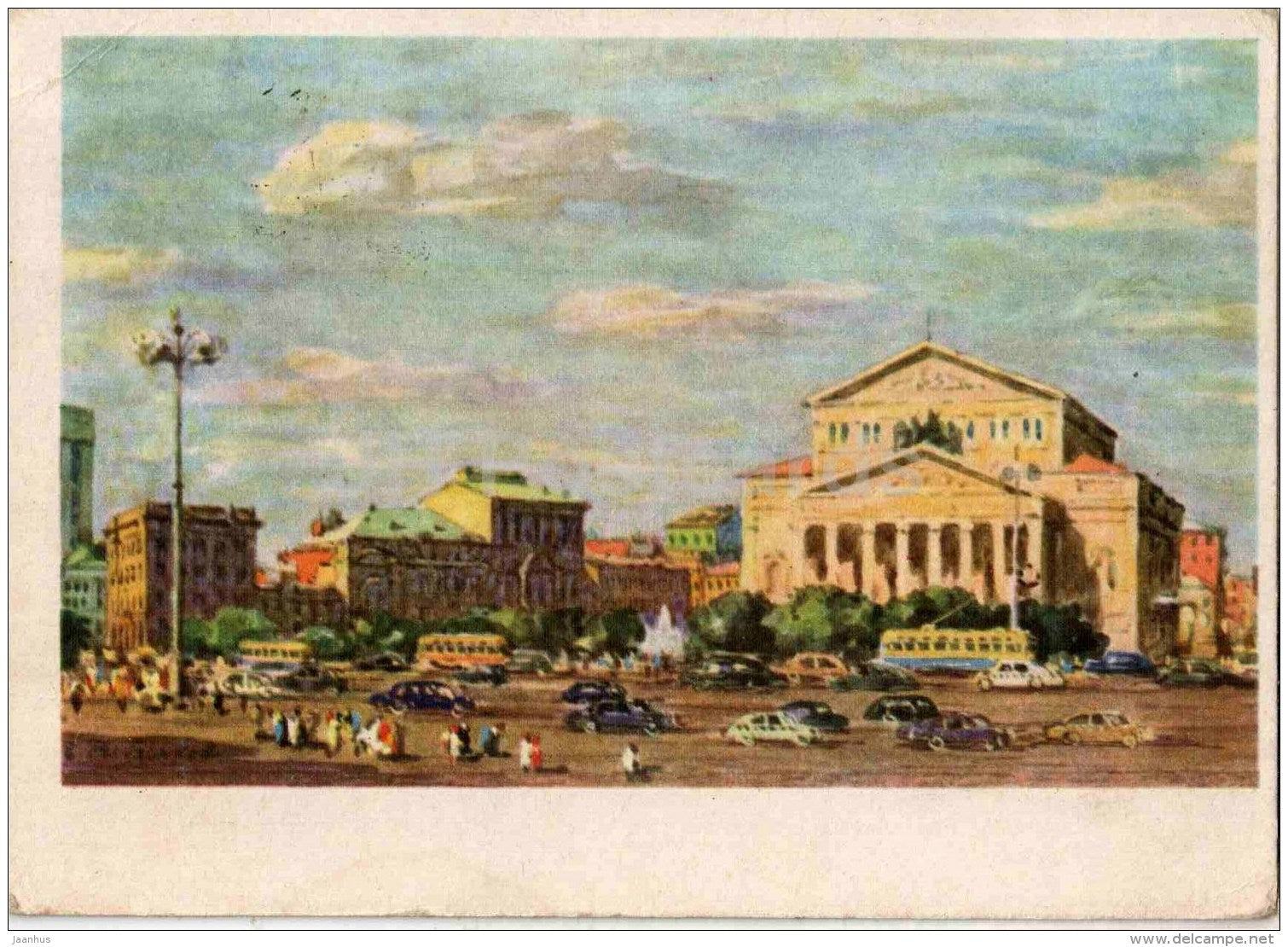 painting by B. Rybenko - View of the Grand Bolshoy Theatre - Moscow - Russian art - 1961 - Russia USSR - used - JH Postcards