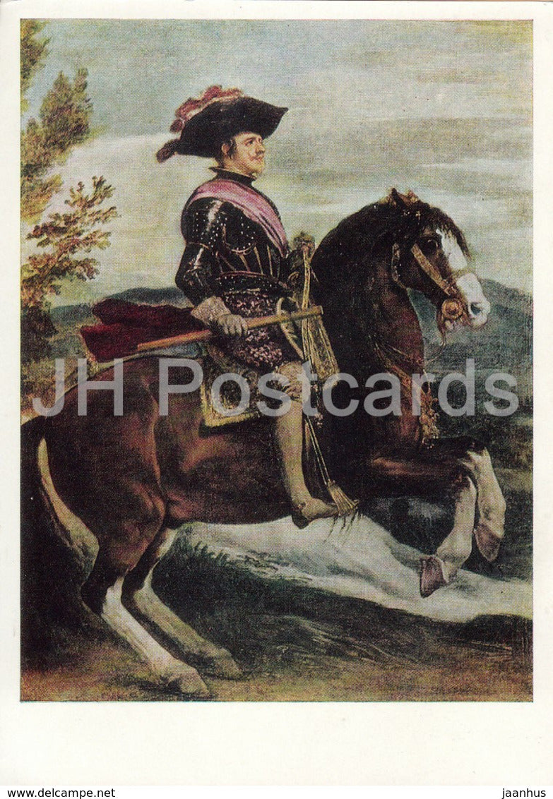 painting by Diego Velazquez - Equestrian Portrait of Philip IV - horse - Spanish art - 1968 - Russia USSR - unused - JH Postcards