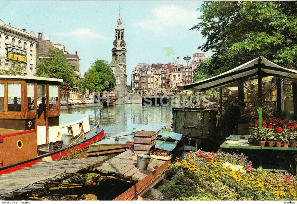 Amsterdam - The Floating Flower Market of the Singel near the Mint Tower - boat - Netherlands - unused - JH Postcards