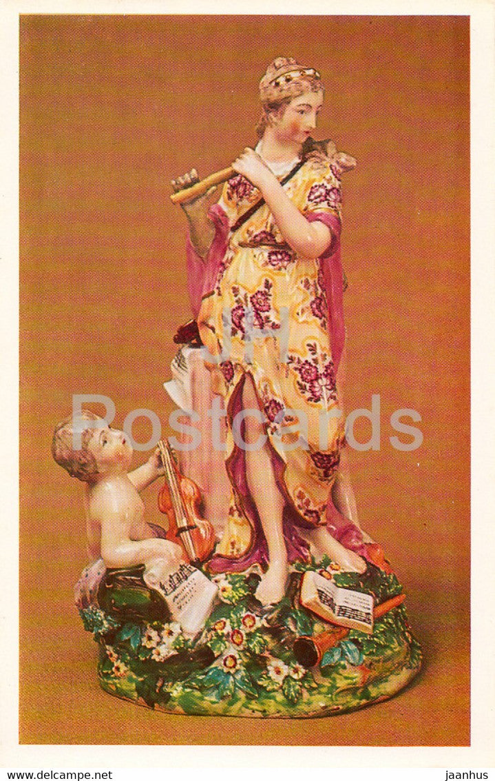 An Allegory of Music - porcelain - English Applied Art - 1983 - Russia USSR - unused - JH Postcards