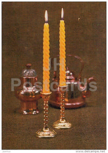 New Year Greeting card - 1 - candles - teapot - 1988 - Estonia USSR - used - JH Postcards