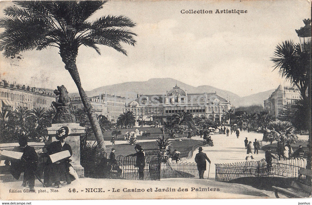 Nice - Le Casino et Jardin des Palmiers - Collection Artistique - 46 - old postcard - 1908 - France - used - JH Postcards