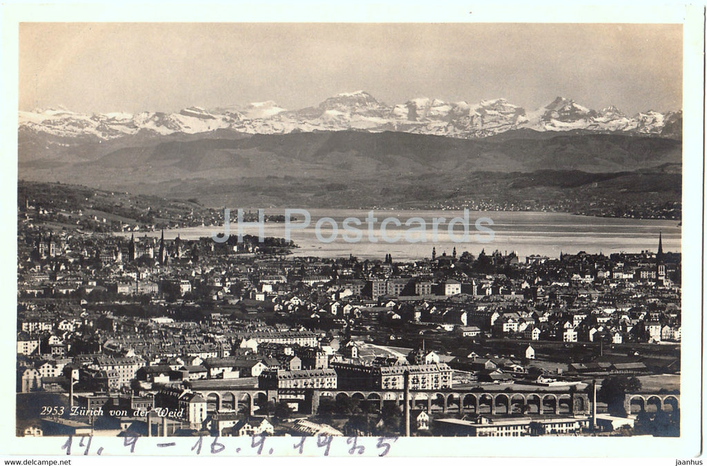Zurich von der Weid - 2953 - old postcard - 1925 - Switzerland - used - JH Postcards