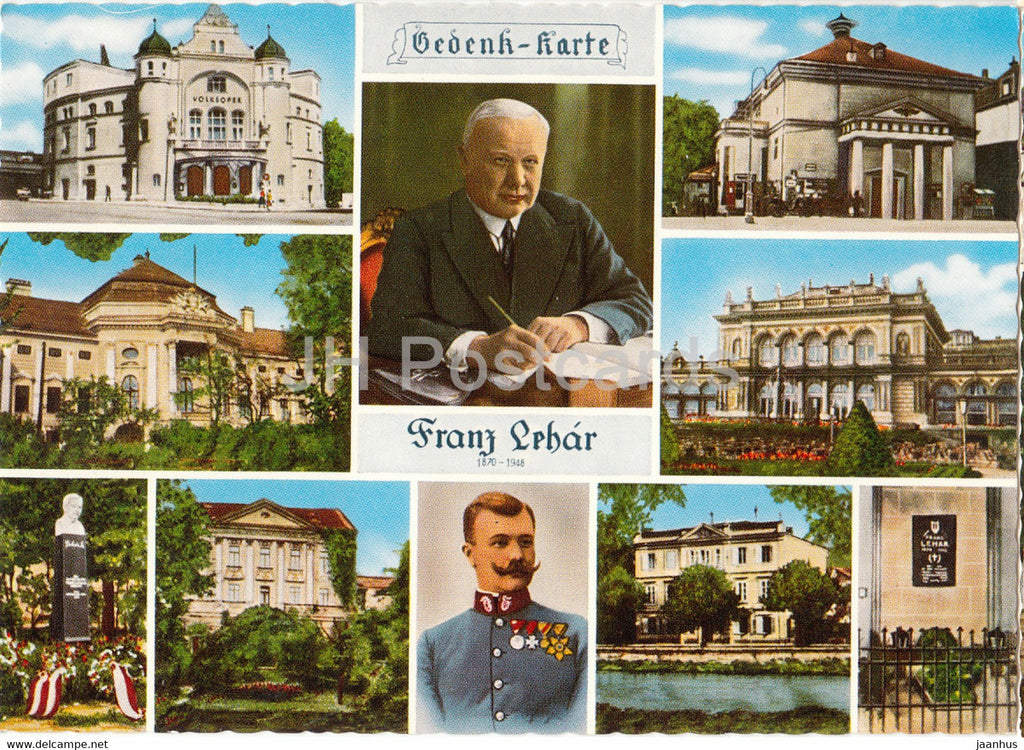 Franz Lehar - Volksoper Wien - Lehar Theater - Bad Ischl - Konzert Cafe - composer - multiview - Austria - unused - JH Postcards