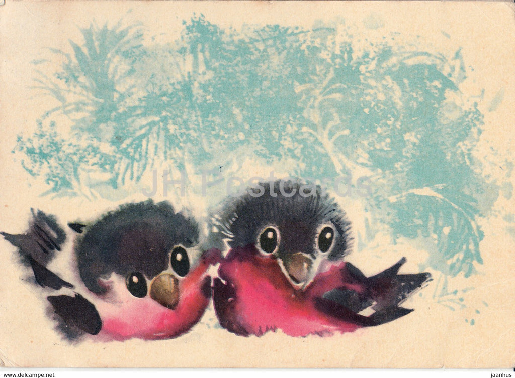 New Year Greeting card by E. Pikk - Bullfinch - birds - 1 - 1965 - Estonia USSR - used - JH Postcards