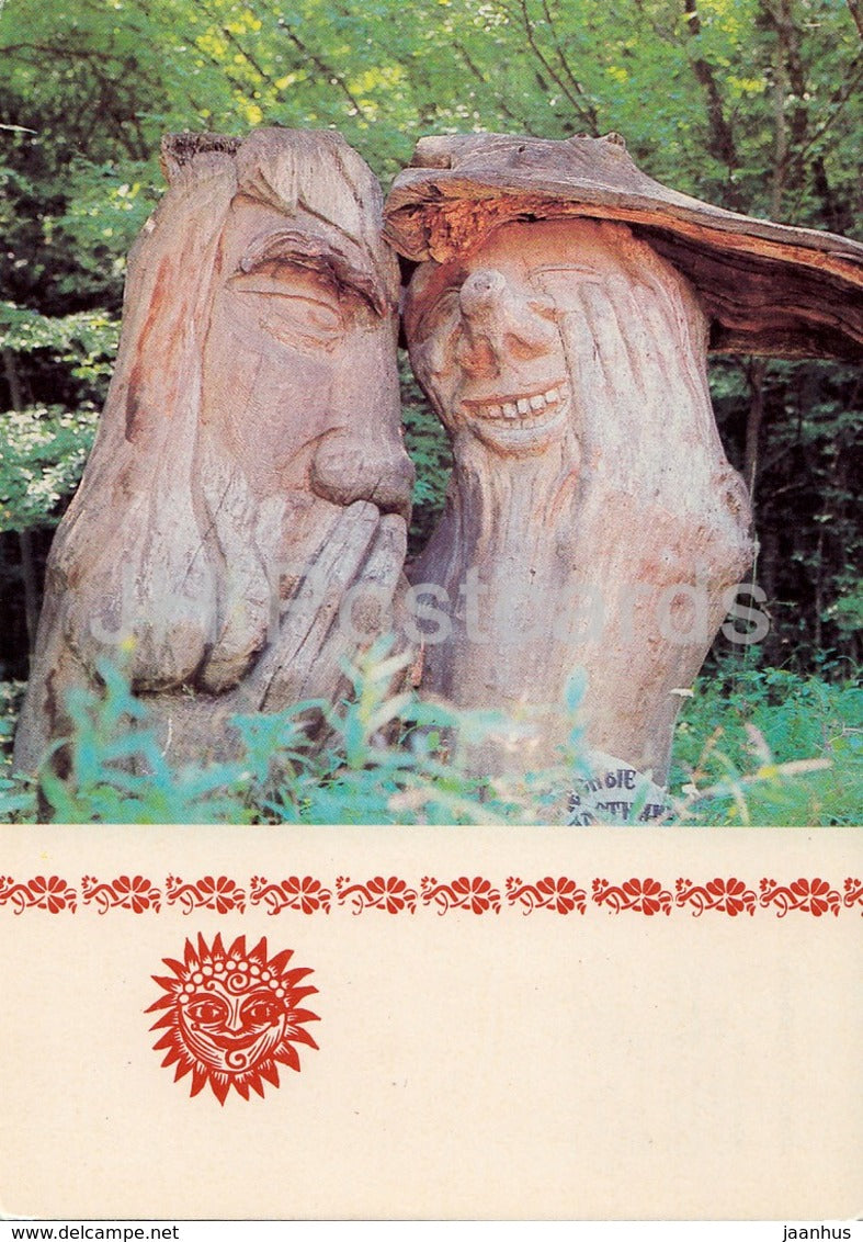 Forest Gossipers - fairy tale - Glade of Fairy Tales - Crimea - 1988 - Ukraine USSR - unused - JH Postcards