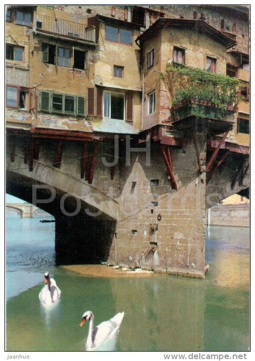 Ponte Vecchio , particolare - bridge - swan - Firenze - Toscana - 542 - Italia - Italy - sent from Italy to France - JH Postcards
