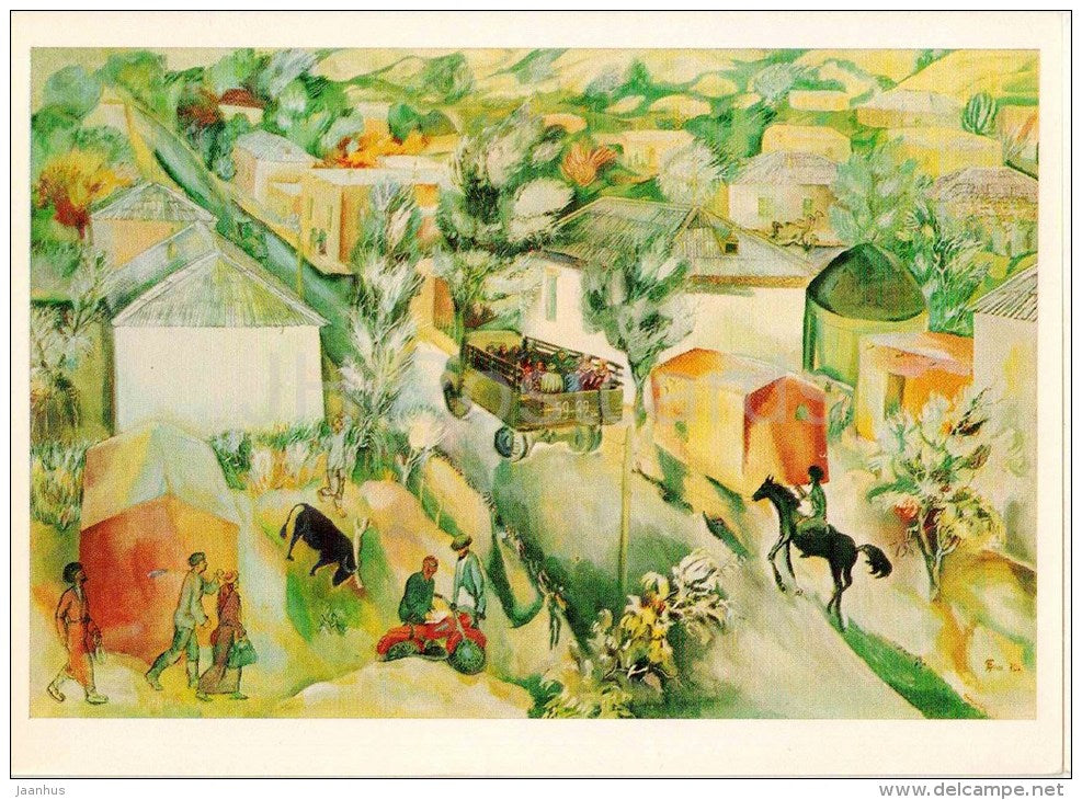 painting by Y. Bayramov - Morning in a Collective Farm , 1970 - kolkhoz - truck - horse - turkmenian art - unused - JH Postcards