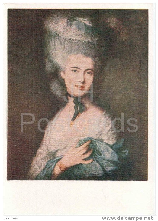 painting by Thomas Gainsborough - A Woman in Blue (Portrait of the Duchess of Beaufort - english art - unused - JH Postcards