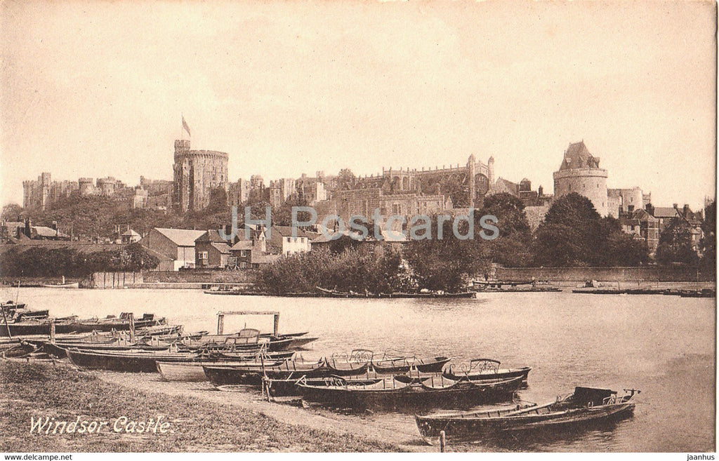 Windsor Castle - boat - 35367 - old postcard - England - United Kingdom - unused - JH Postcards