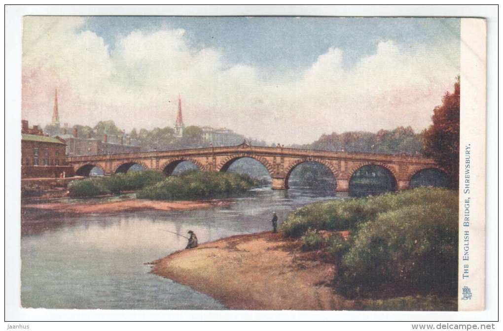 English Bridge - Shrewsbury - England - UK - old postcard - unused - JH Postcards