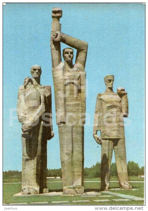 Central Sculptural Group - Salaspils Memorial Ensemble - old postcard - Latvia USSR - unused - JH Postcards