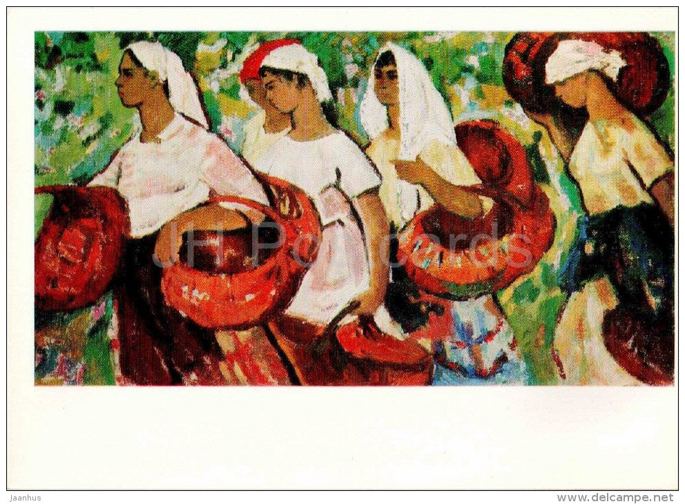 painting by A. Baranovich - In the Gardens , 1967 - women - moldavian art - unused - JH Postcards