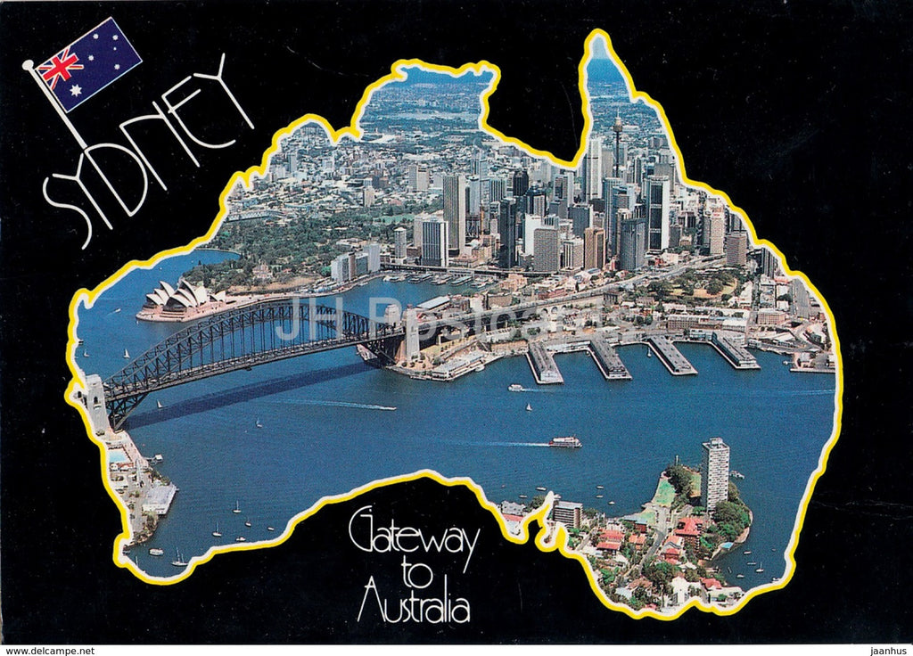 Sydney - Gateway to Australia - map - 1992 - Australia - used - JH Postcards