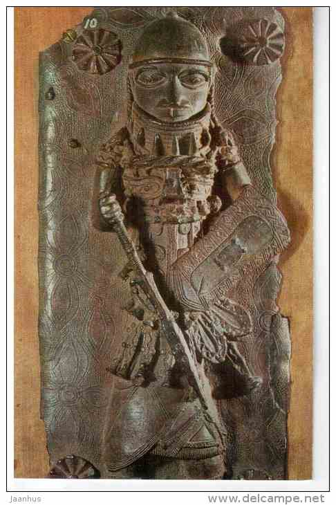 Panel with a warrior in relief - bronze - Benin , Nigeria , 17th century - 1972 - Russia USSR - unused - JH Postcards