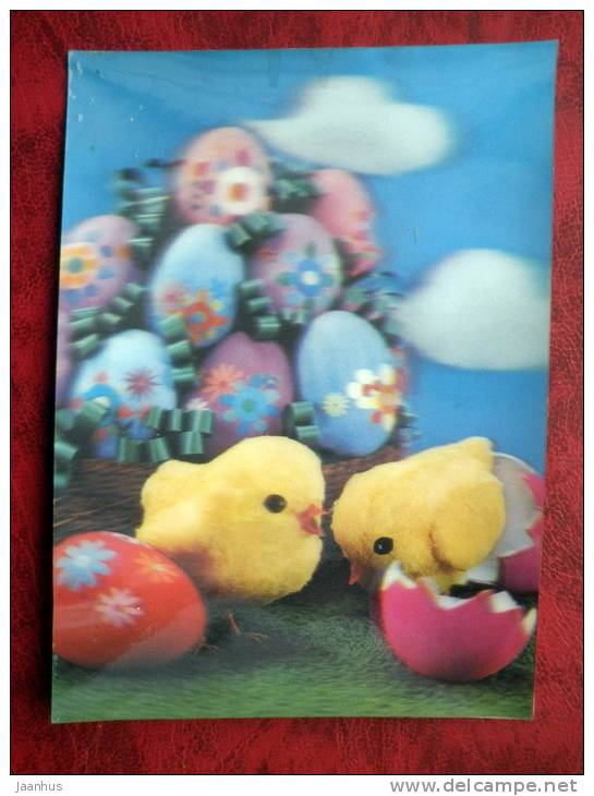 Switzerland - 3D - stereo - Easter - chicks - eggs - sent in Finland, Helsinki - 1972 -  stamped - used - JH Postcards