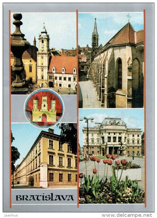 4. April square - church of the Poor Clares -  National Theatre - Bratislava - Czechoslovakia - Slovakia - unused - JH Postcards