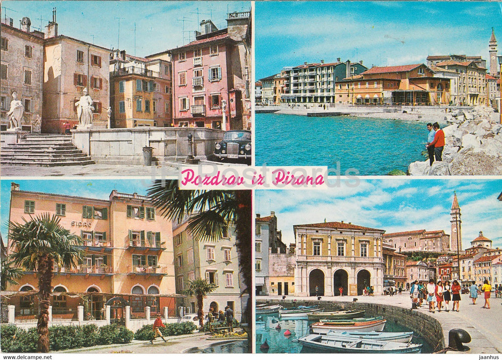 Pozdrav iz Pirana - Piran - town view - multiview - 2532 - 1978 - Yugoslavia - Slovenia - used - JH Postcards