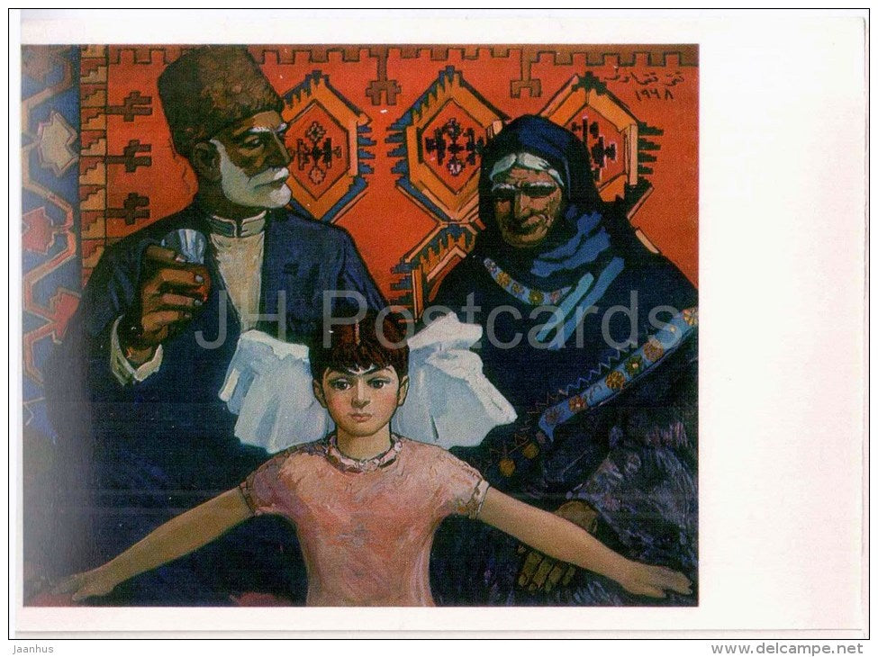 painting by Taghi Aziz ogly Taghiyev - My Grandma and Grand-Dad , 1968 - azerbaijan art - unused - JH Postcards