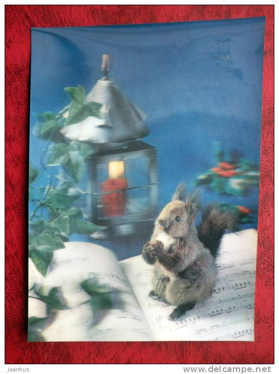 Finland - 3D - stereo - Christmas an New Year - Squirrel - sent in Finland - 1975 -  stamped!! - used - JH Postcards