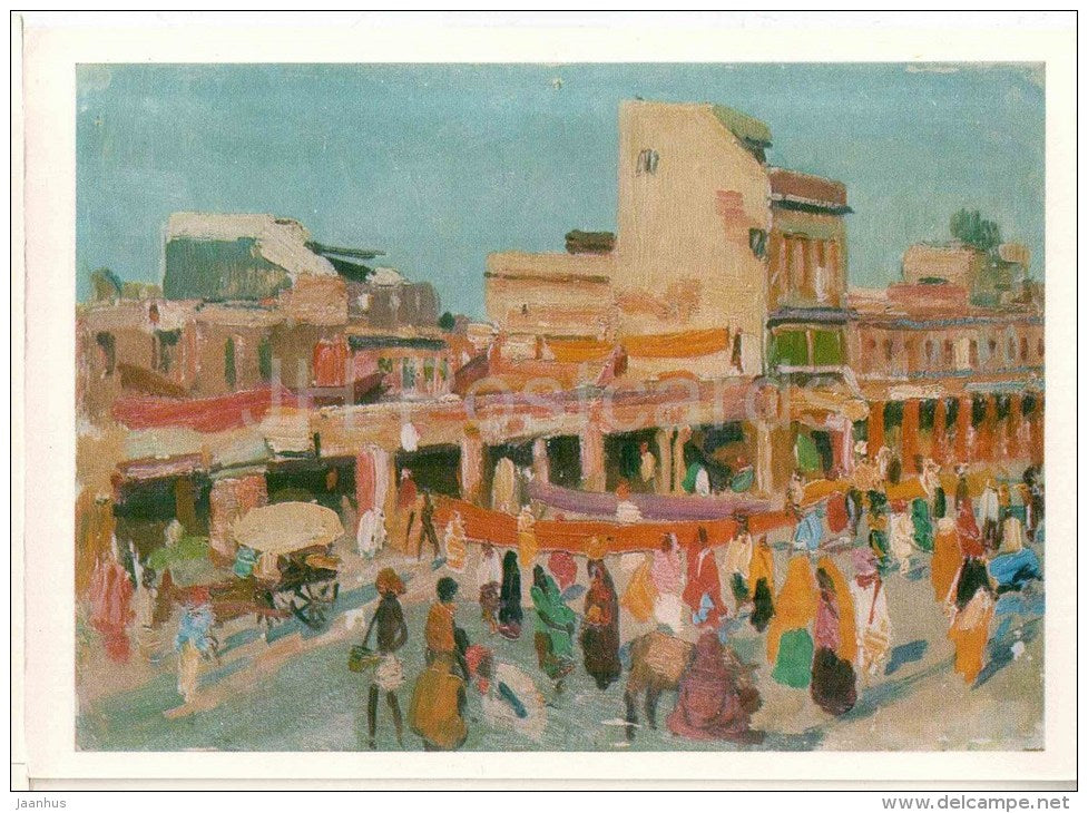 painting by Mikail Hussein ogly Abdullayev - evening in Jaipur , 1957 - India - azerbaijan art - unused - JH Postcards