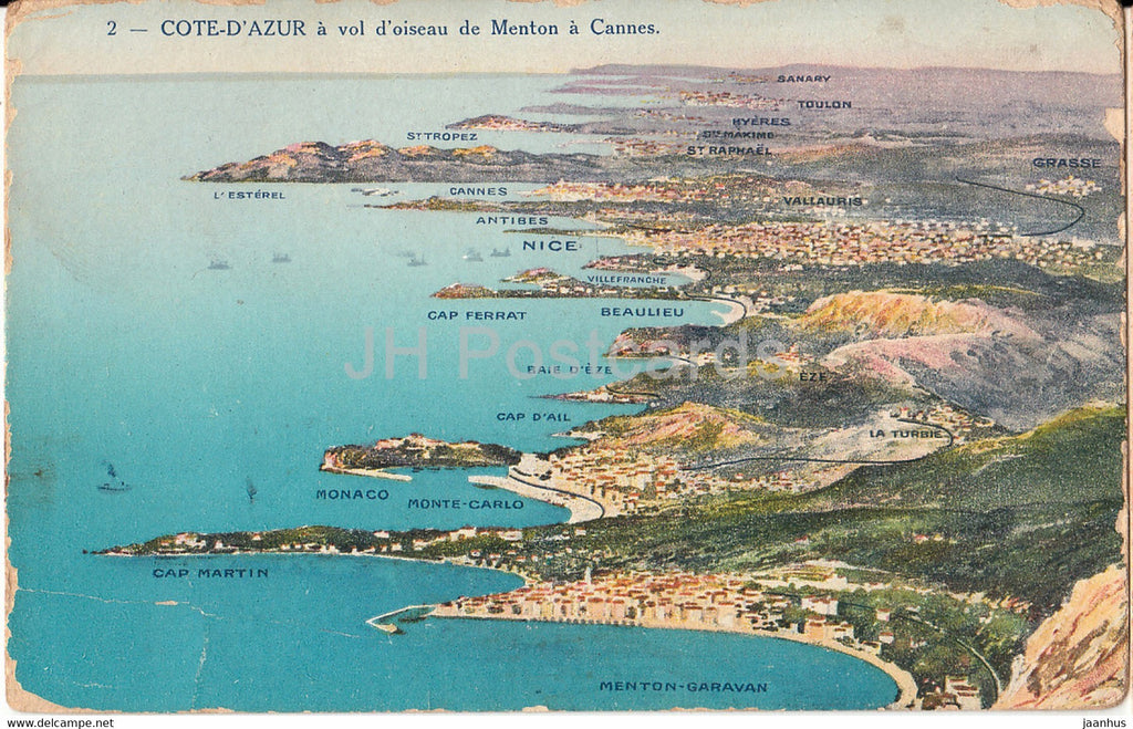 Cote d'Azur - a vol d'oiseau de Menton a Cannes - 2 - old postcard - France - unused - JH Postcards
