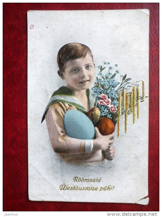 Easter Greeting Card - boy - eggs - 4568 - circulated in 1927 - Estonia - used - JH Postcards