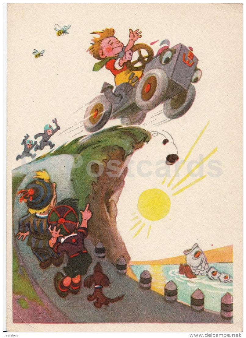 illustration by N. Nosova - Neznayka - driver - 1957 - Russia USSR - unused - JH Postcards