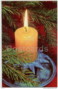 New Year Greeting Card - candle - 1972 - Estonia USSR - unused - JH Postcards