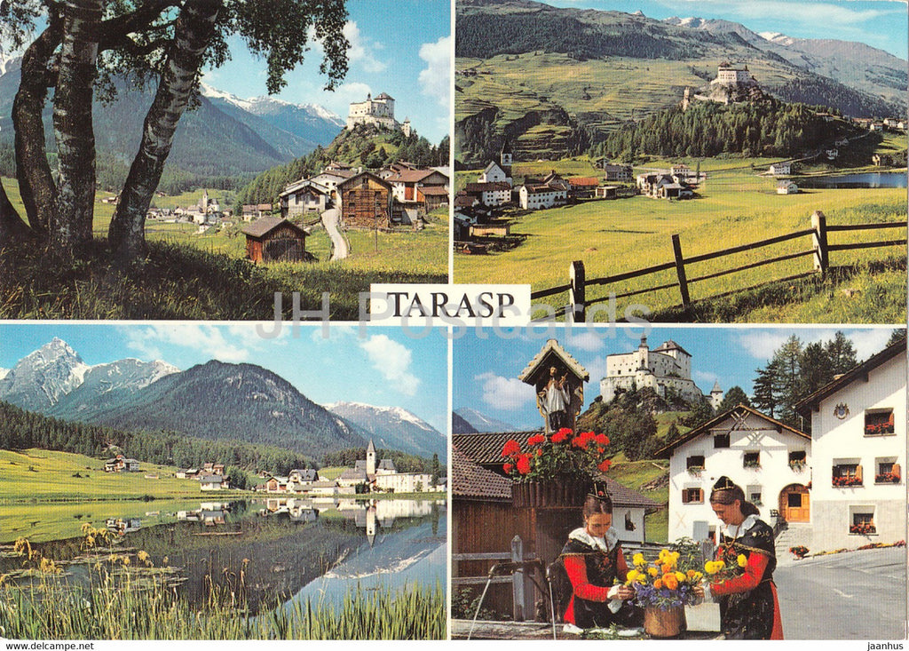 Schloss Tarasp mit Sparsels - Taraspersee - Val Plavna - folk costumes - multiview - 1972 - Switzerland - unused - JH Postcards