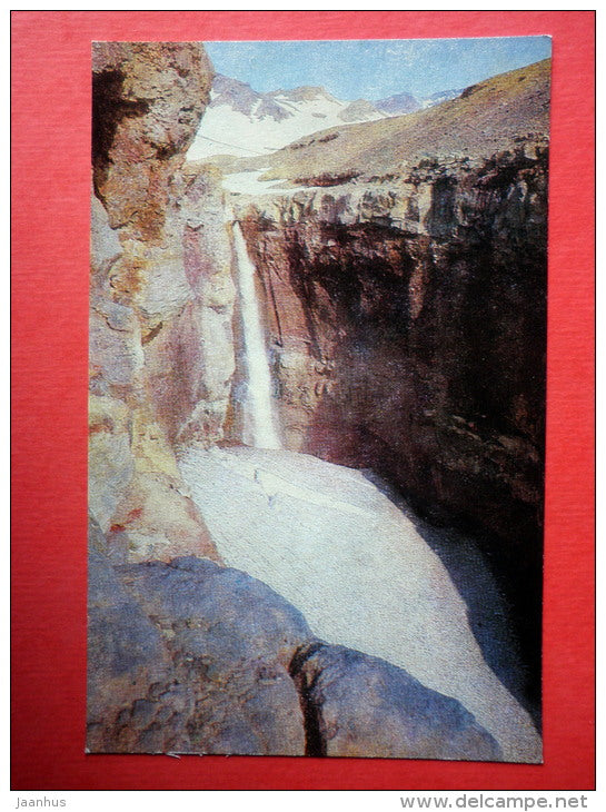 80 meters high waterfall in Opasniy canyon . Slopes of the volcano Mutnovskii - Kamchatka - 1981 - Russia USSR - unused - JH Postcards