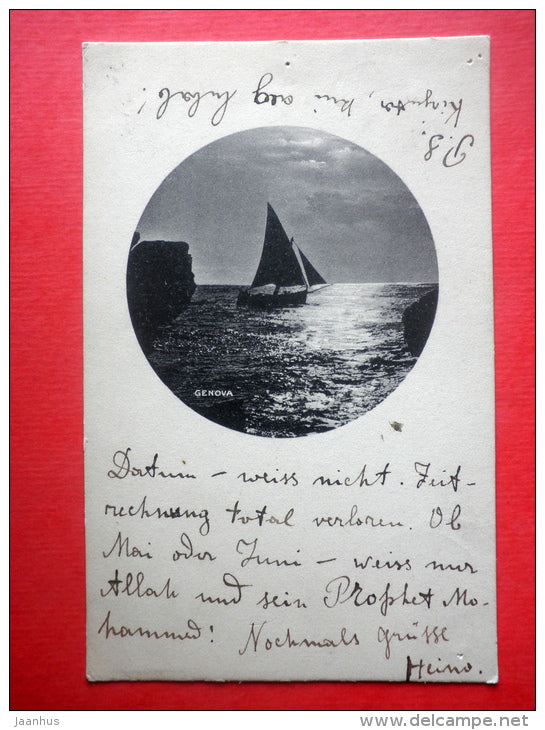 sailing boat - Genova - Genoa - 151 - old postcard - Italy - sent to Estonia Reval Imperial Russia 1909 - JH Postcards