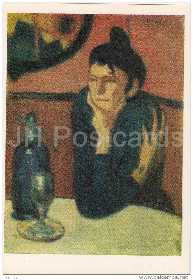 painting by P. Picasso  - Absinthe lover , 1901 - Spanish art - 1981 - Russia USSR - unused - JH Postcards